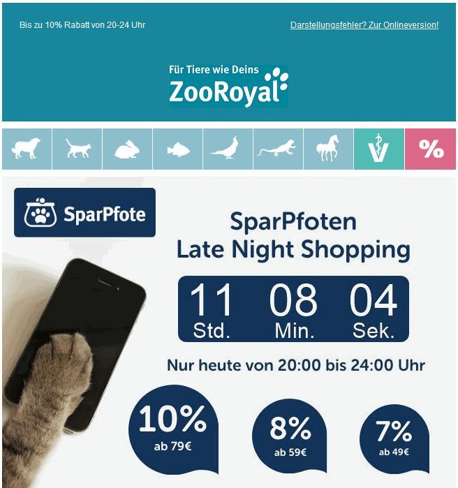 ZooRoyal: SparPfoten Late Night Shopping, 10% ab 79€