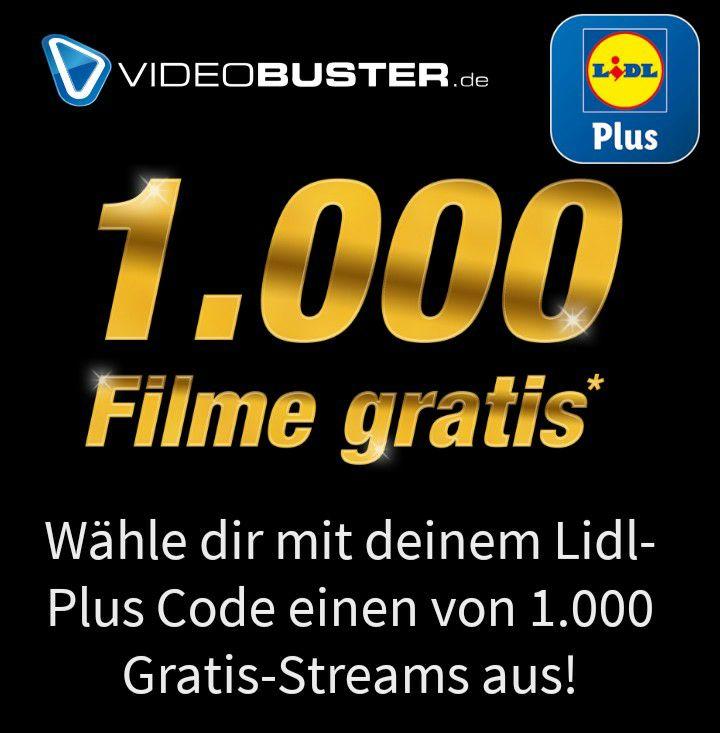 (Lidl Plus App) Videobuster Film geschenkt (1000 Einlösungen) / danach 1 Euro pro Film