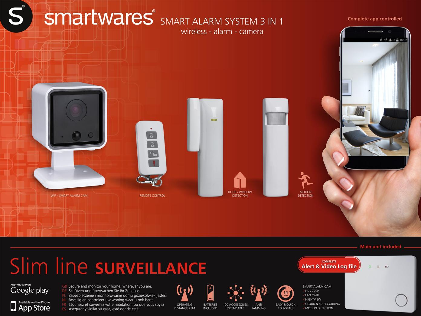 Smartwares HA701SL-IC Smartes Funk-Alarmsystem 3-in-1, Überwachungssystem