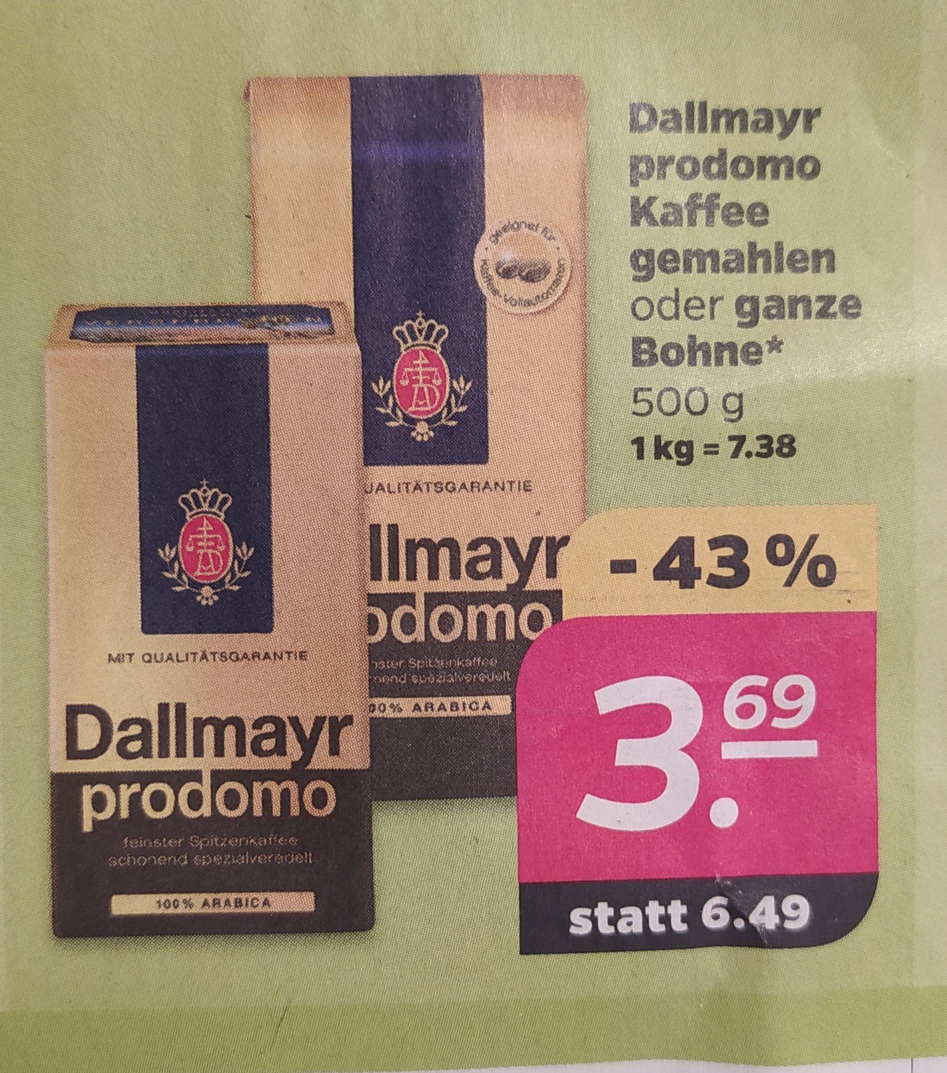 Dallmayr prodomo 500g gemahlen oder ganze Bohne für 3,69€ statt 6,49€