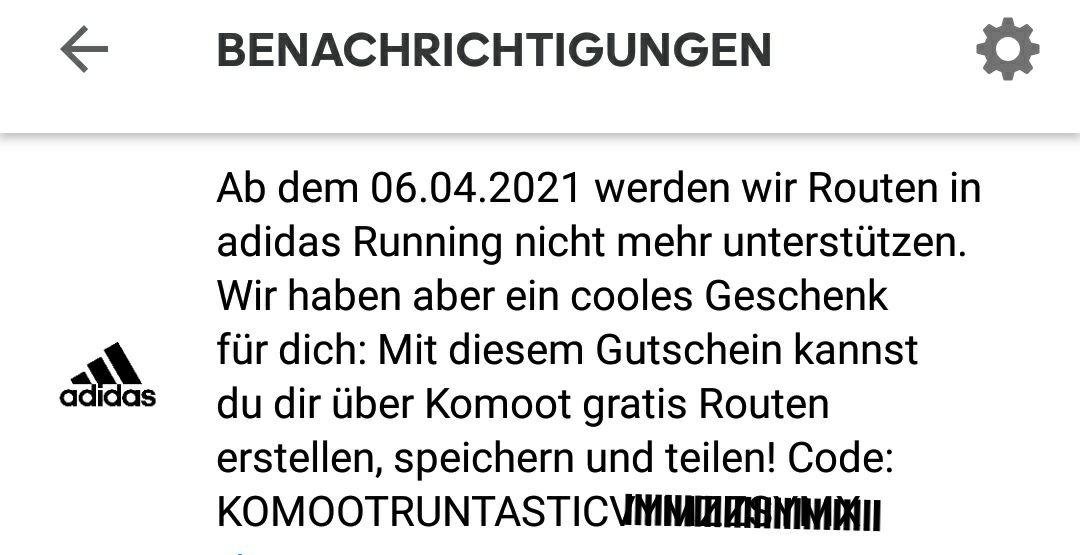 Kostenloses Regionenpaket - Komoot / Adidas Running (Runtastic)