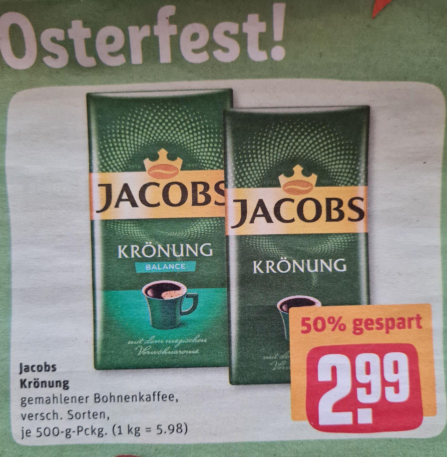 Jacobs Krönung gemahlener Bohnenkaffee verschiedene Sorten REWE ab 29.03