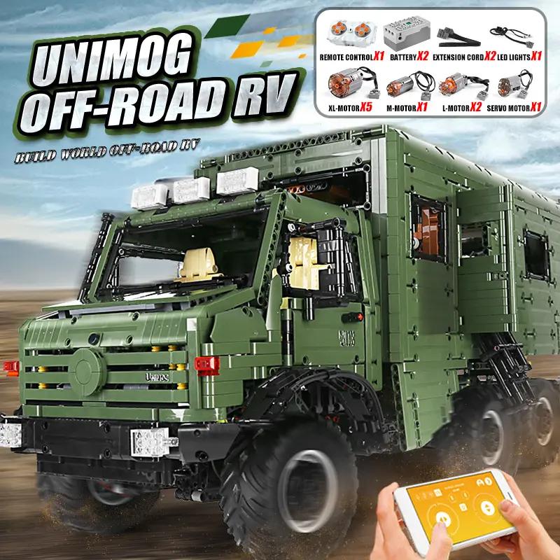 RAEL Unimog inkl. Motorrad - 9 Motoren - 2 Akkus - LED - 6689 Klemmbausteine - pure Klemmbaustein Technik