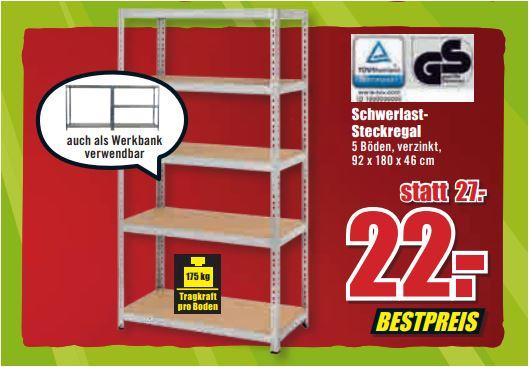 Schwerlastregal (Toom), 5 Böden, 175 kg pro Boden, verzinkt, 92 x 180 x 46 cm für 22 Euro [ B1-Discount -Filialpreis]