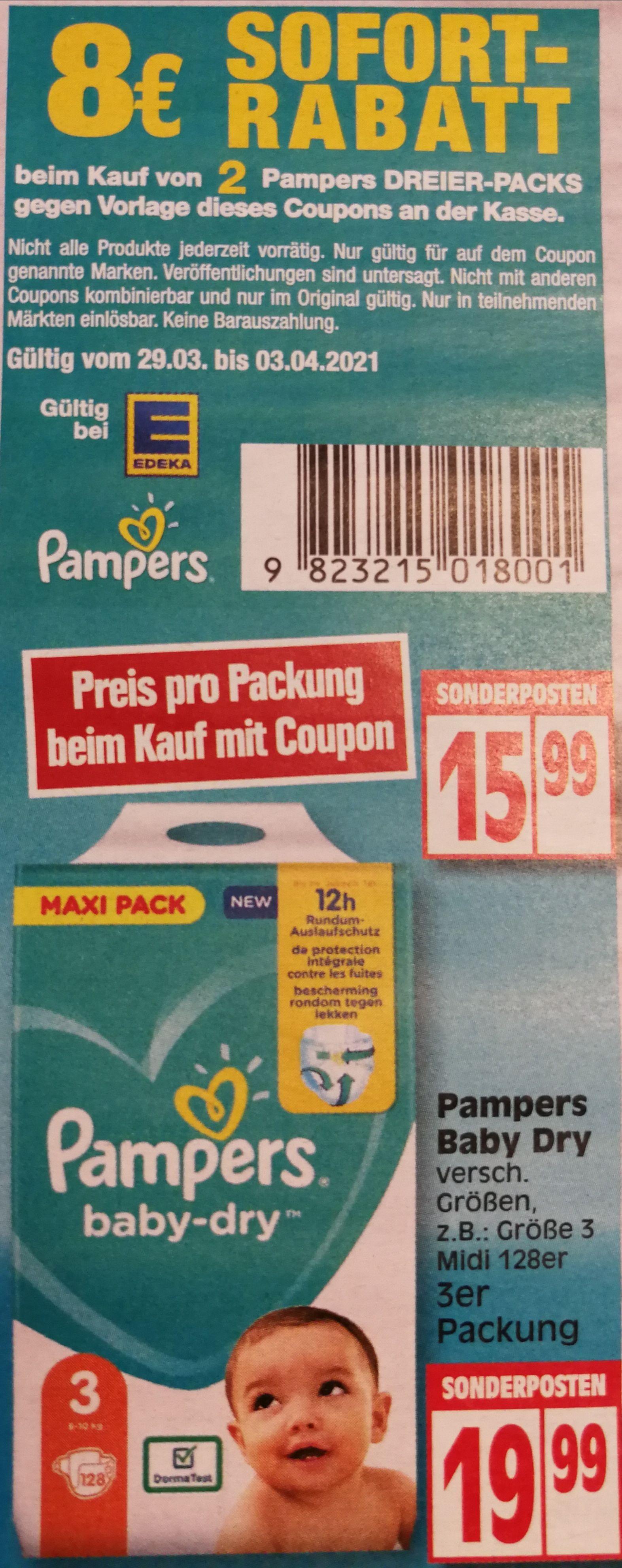 [Edeka lokal] 8 Euro Rabatt auf Pampers Baby-Dry Windeln