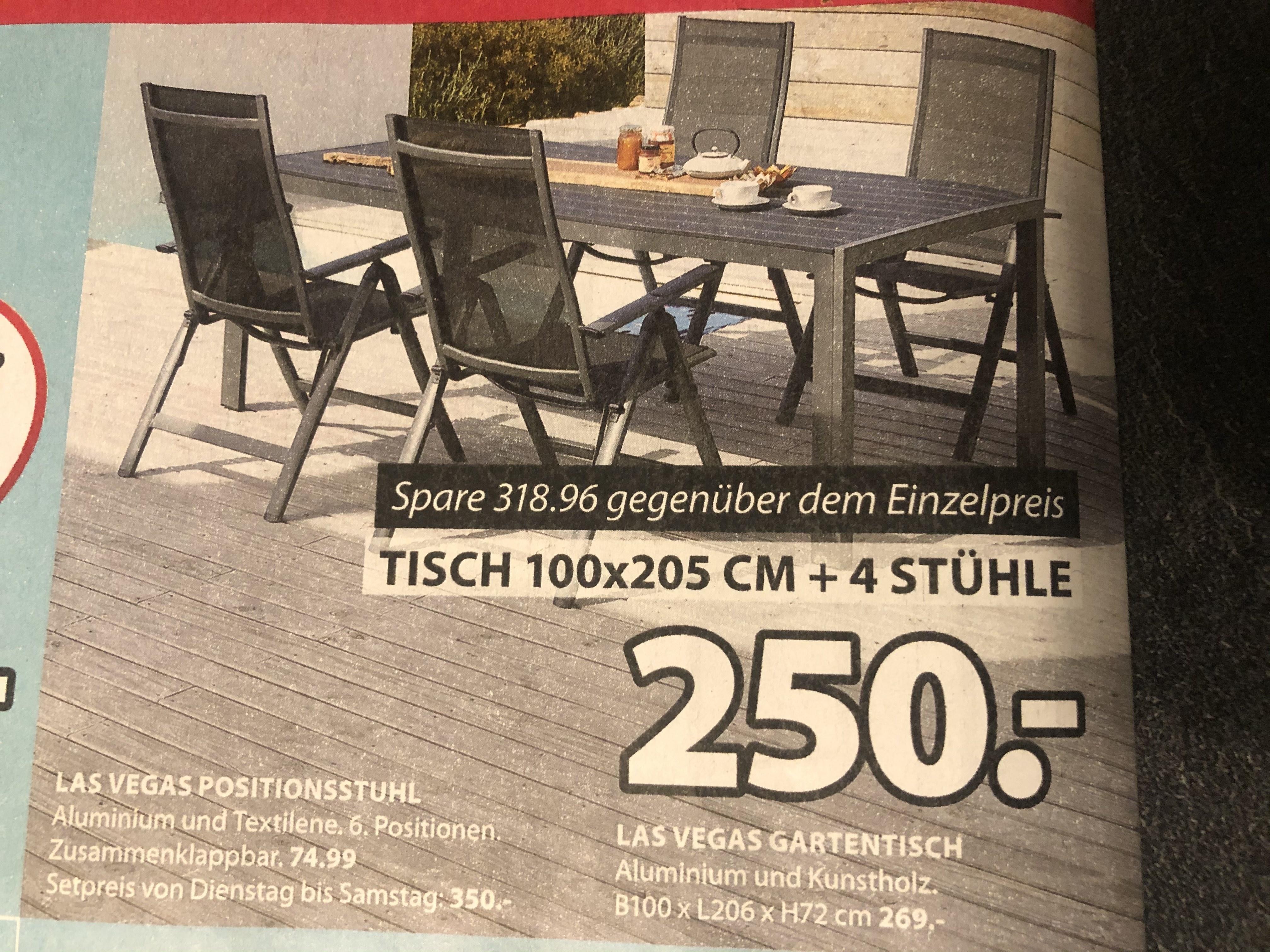Gartenmöbel-Set LAS VEGAS (100x205, 4 Stühle)