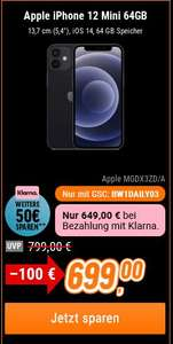 Apple iPhone 12 mini 64GB - Schwarz // 50€ Abzug bei Zahlung mit Klarna