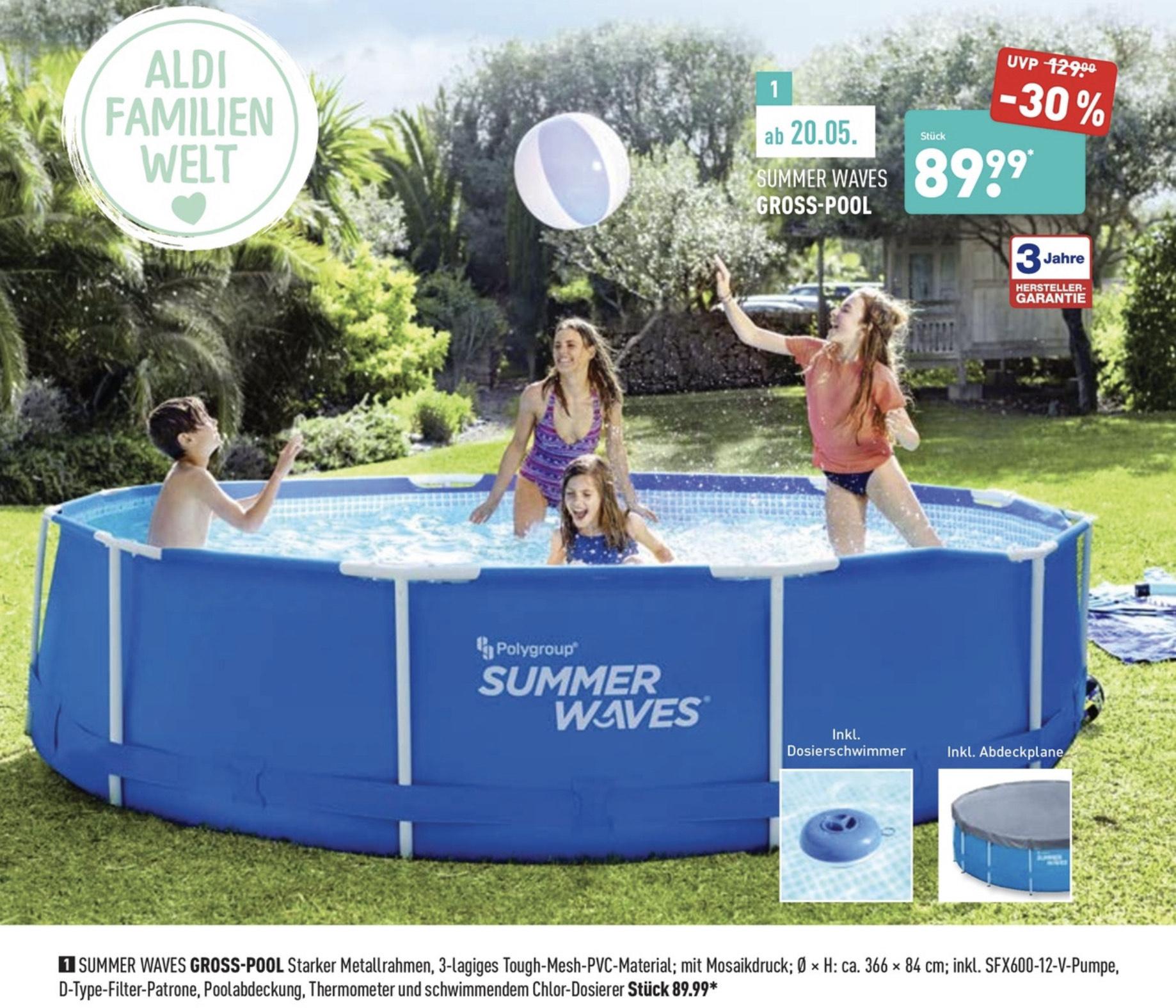 [Aldi bundesweit] Summer Waves Swimming Pool 366x84cm, inkl. Pumpe und weiterem Zubehör + 3 Jahre Garantie für 89,99€