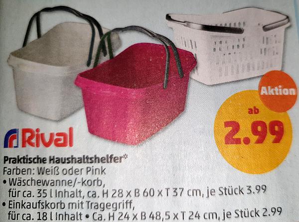 [Penny] Wäschewanne oder Wäschekorb 35L --- 18L Version -> 2,99€