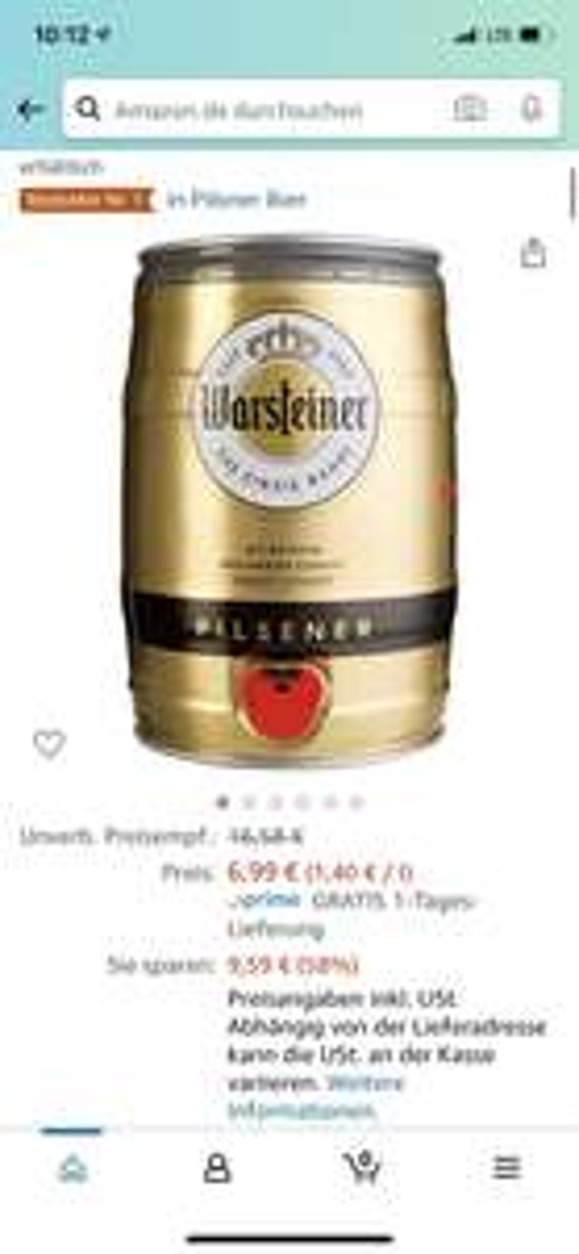 Warsteiner Premium Pilsener 5 Liter Fass
