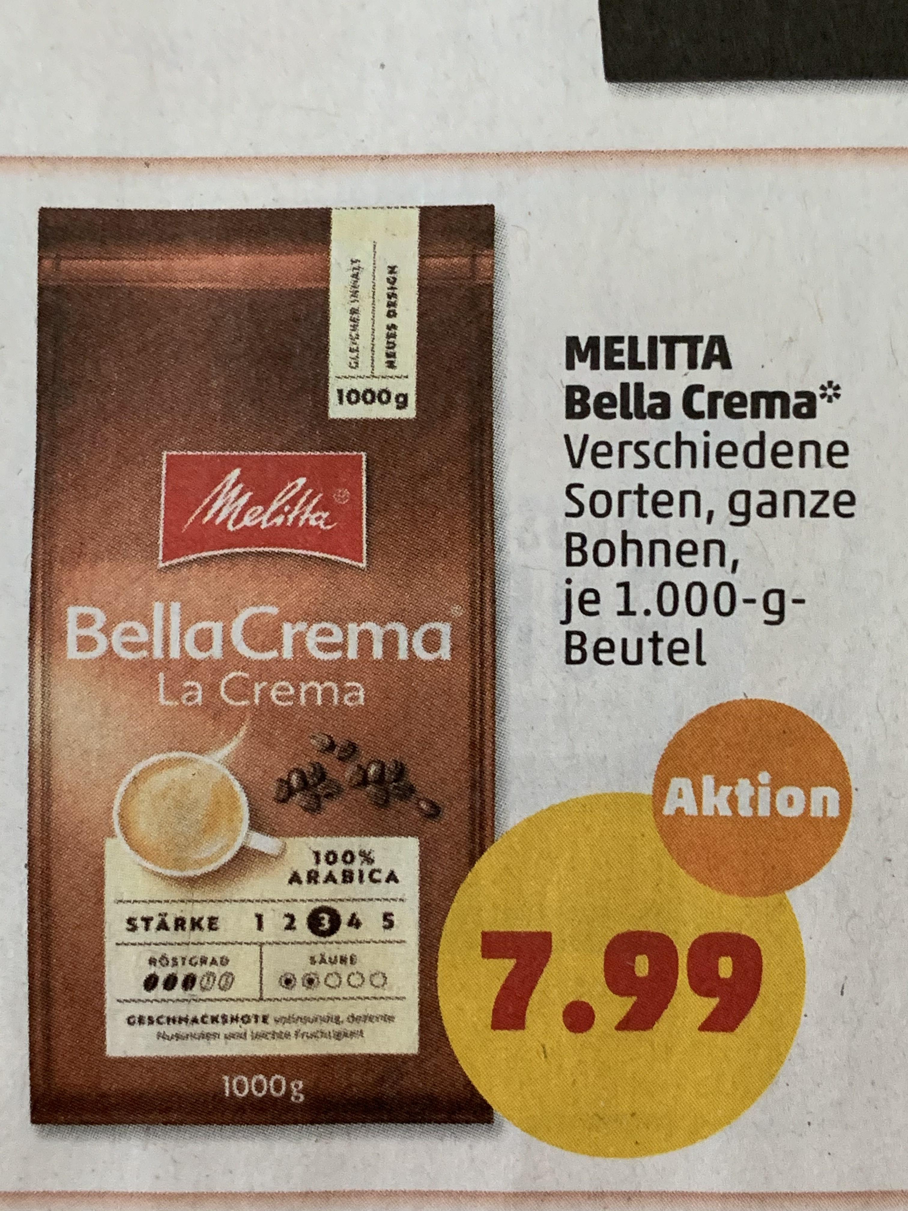 Melitta Bella Crema Espressokaffee, 100% Arabica, 1kg, ab Montag bei Penny für 7,99€