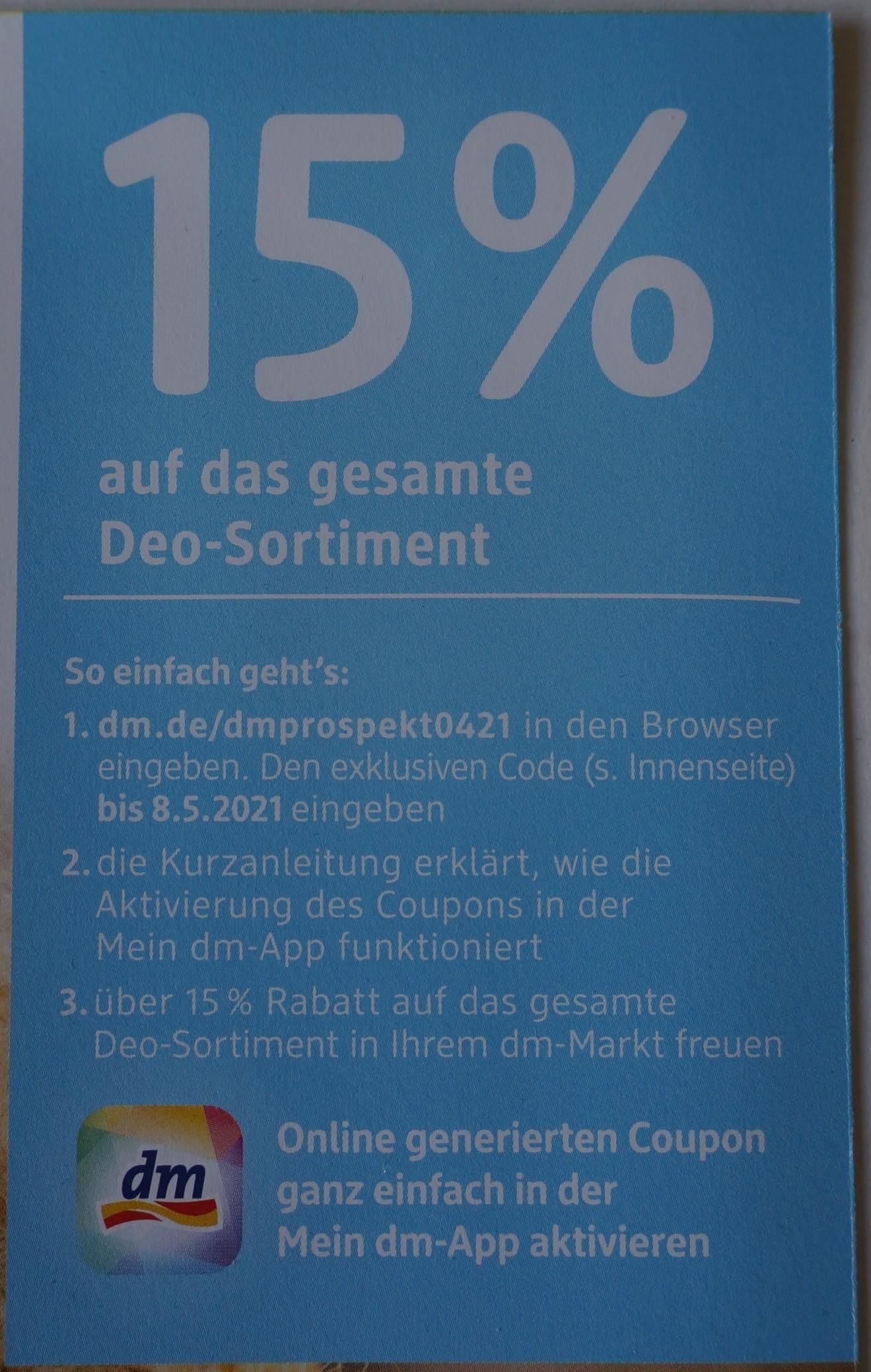 [dm] (Lokal ausgewählte Filialen) 15% Rabatt Coupon auf das Deo Sortiment 07.04.- 08.05. 25 Tage gültig
