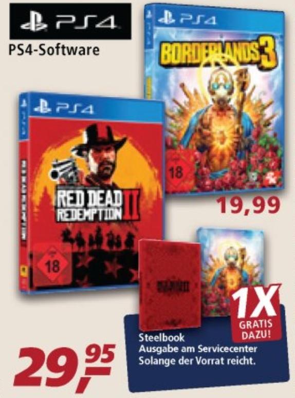 Red Dead Redemption & Borderlands 3 | Steelbook Gratis beim Kauf von ausgewählte Games | Real Markt