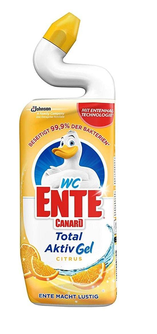 4 x WC Ente Total Aktiv Gel Flüssiger WC Reiniger, mit Entenhals-Technologie, antibakteriell, Citrus Duft, 1er Pack (1 x 750 ml)