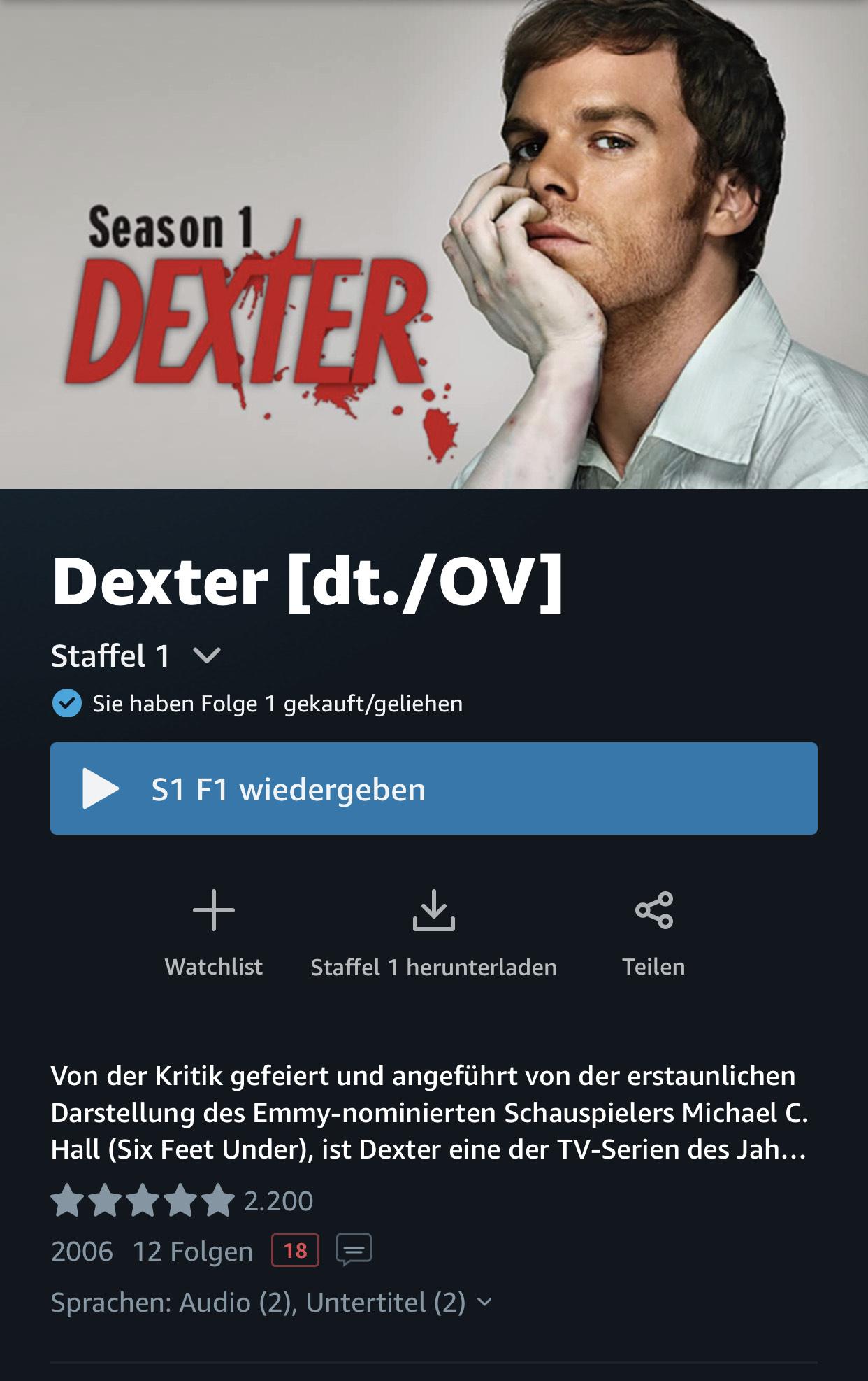 Dexter Staffel 1 (Kauf)
