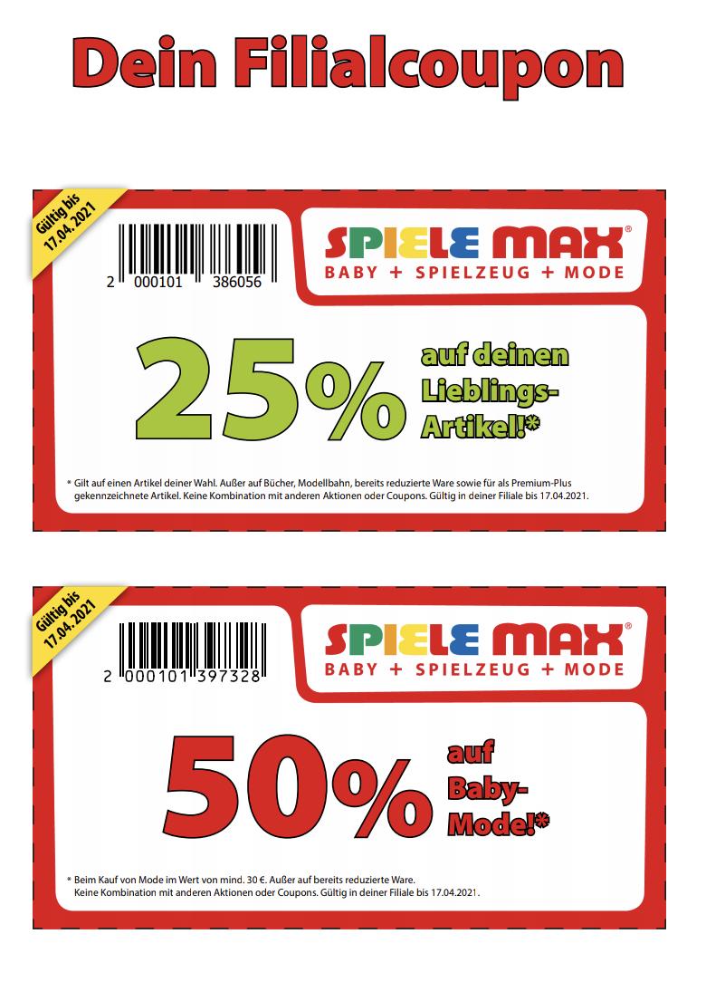 25% auf Lego, Playmobil, Schleich, Mode, Baby, Klemmbausteine und vieles mehr. 50% auf Baby Mode ab 30€ in euern Spiele Max