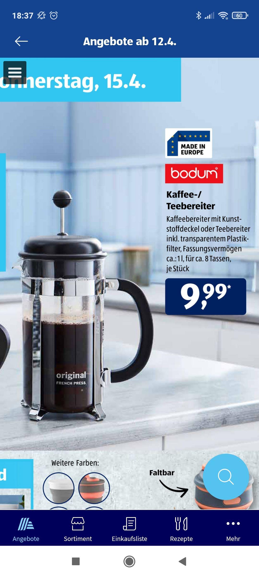 [Aldi Süd] Bodum Kaffeebereiter French Press bei Aldi ab 15.4. 1,0l 8 Tassen
