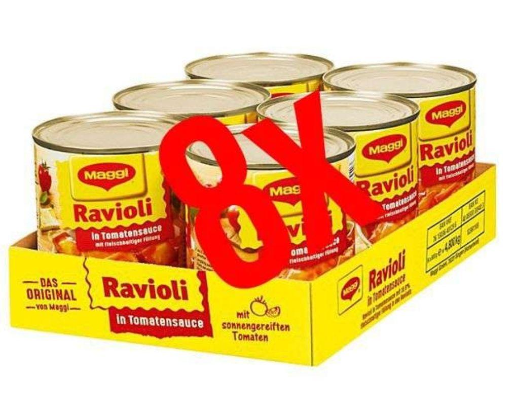 [Rewe] 8x Maggi Dosen Ravioli versch. Sorten mit Coupon für 8,82€(Stückpreis = ca. 1,10€)