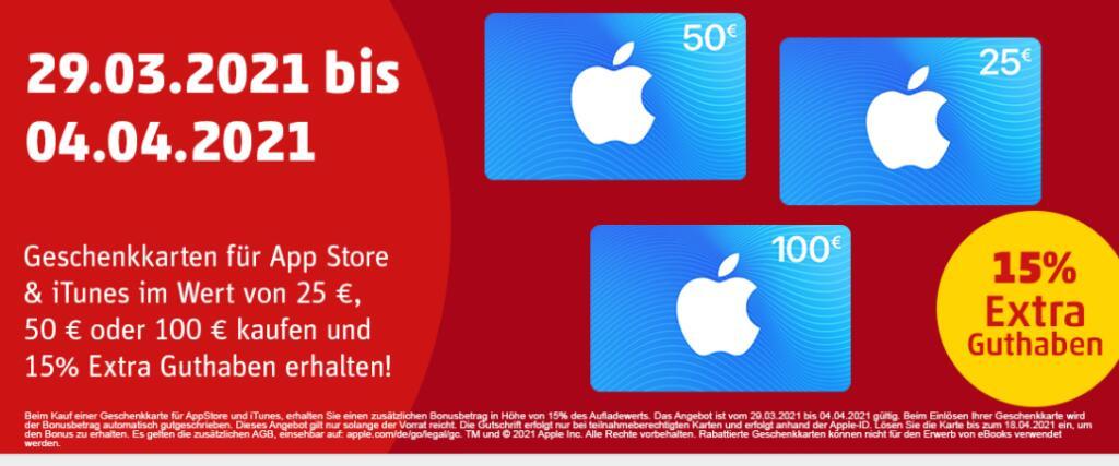 15% Extra Guthaben für Apple AppStore & iTunes Geschenkkarten [Penny - Penny-Kartenwelt]