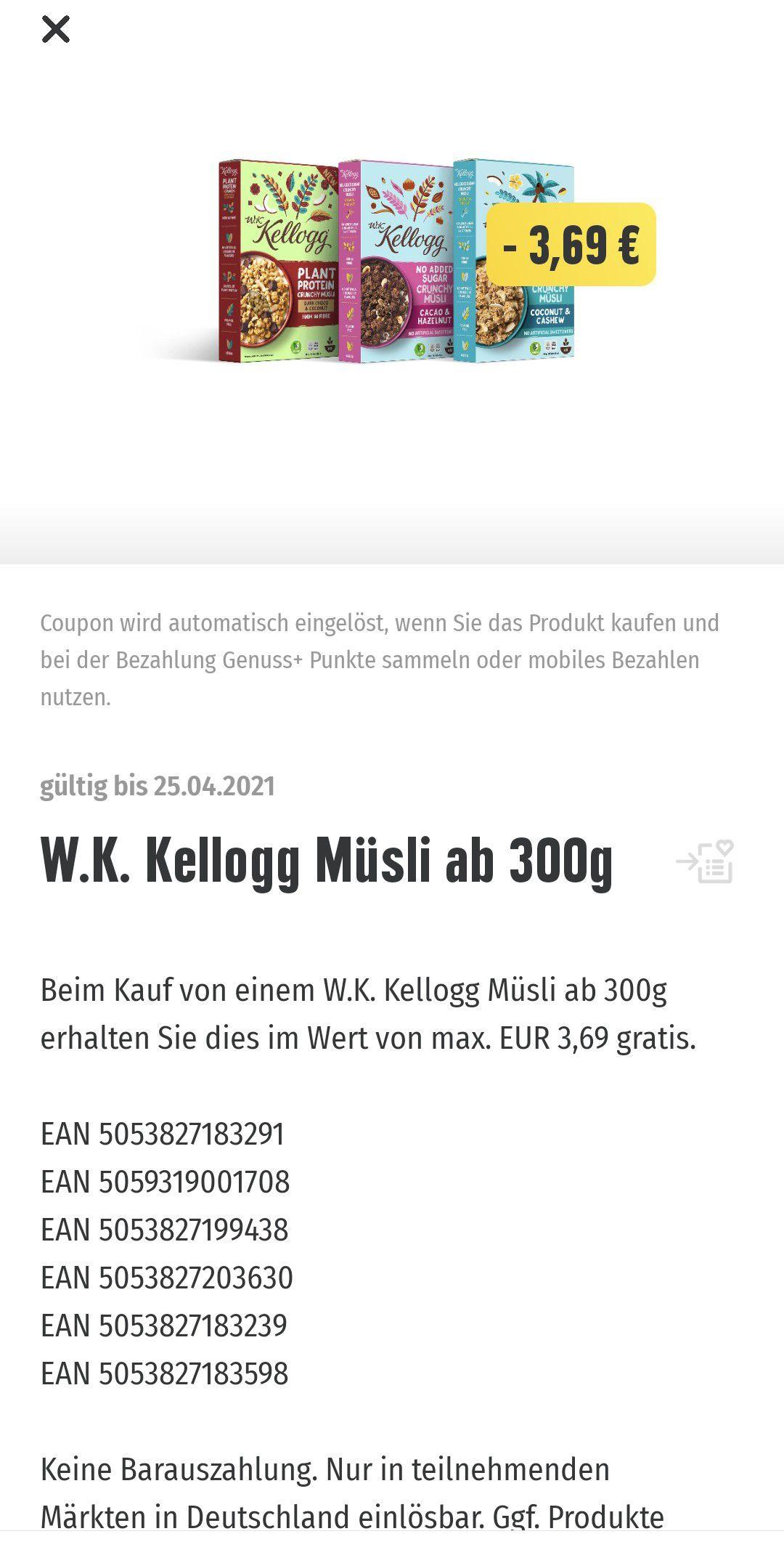 Freebie Lokal Edeka Genuss App Kellog Müsli ab 300g Gratis