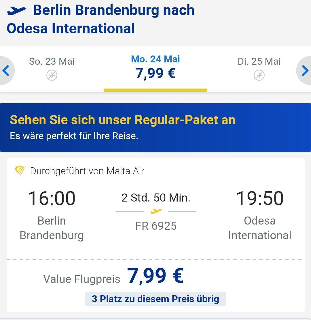 Flüge von Berlin nach Odessa ab 7,99€!