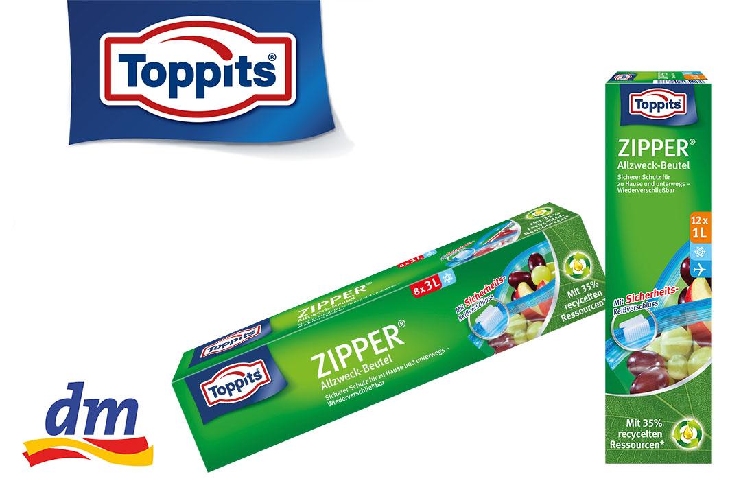 [dm, Scondoo] Toppits Zipper für effektiv 0,95 € statt 1,95 € (Nur bei dm!)