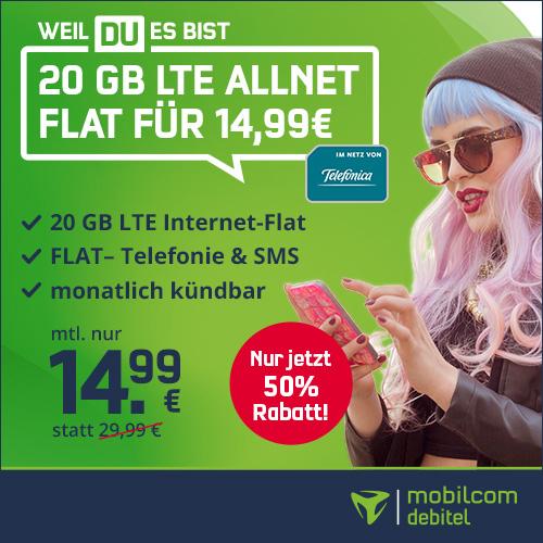[mtl. kündbar] 20 GB LTE Allnet Flat (225 Mbit/s) mtl. 14,99€ + 9,99€ AG + 4 Monate Deezer Premium