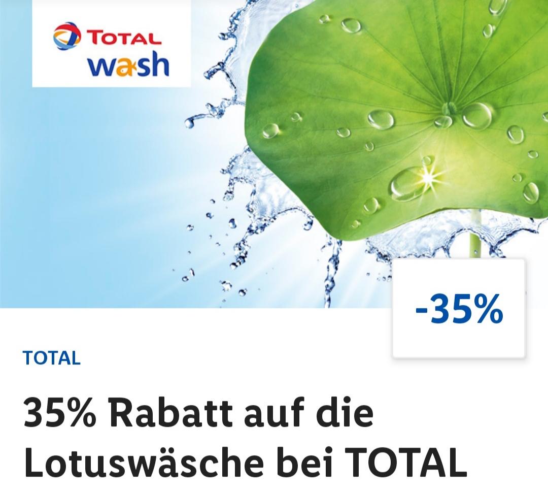 Total Autowäsche Lotuswäsche für 7,49 € statt 11,49 € durch Gutschein aus der Lidl-Plus App