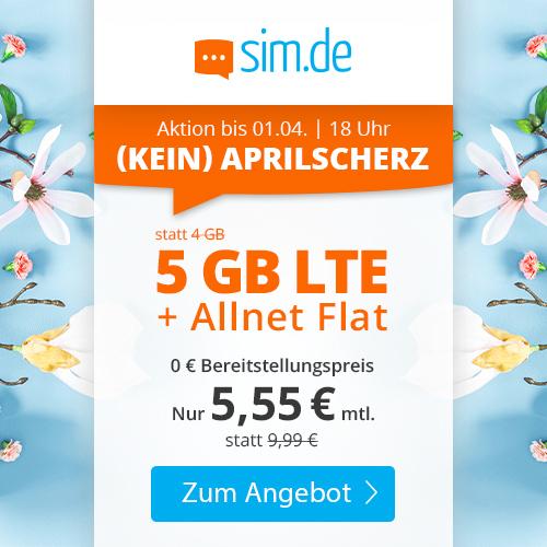 5GB LTE sim.de Tarif für mtl. 5,55€ mit Allnet- & SMS-Flat + VoLTE & WLAN Call (3 Monate / 24 Monate; Telefonica-Netz)