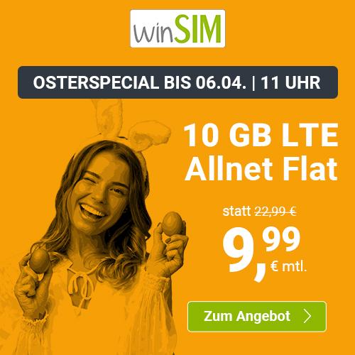 10GB LTE winSIM Tarif für mtl. 9,99€ mit Allnet- & SMS-Flat + VoLTE & WLAN Call (3 Monate / 24 Monate; Telefonica-Netz)