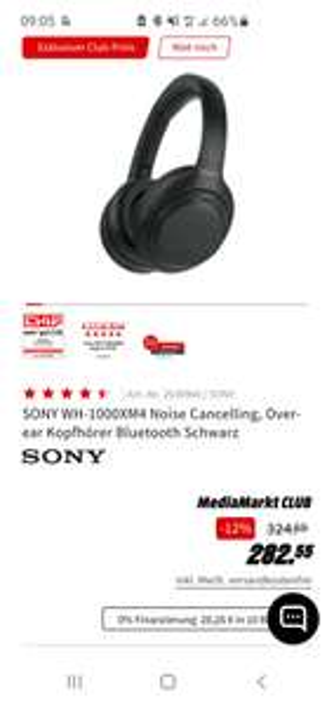 [MediaMarkt Club] SONY WH-1000XM4 Noise Cancelling, Over-ear Kopfhörer Bluetooth Schwarz