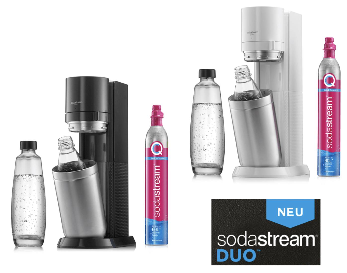 Der NEUE Sodastream DUO inkl. 1 Glas- u. 1 PET-Flasche u. Kohlensäurezylinder titan o. weiß für je 94,99€ inkl. Versandkosten
