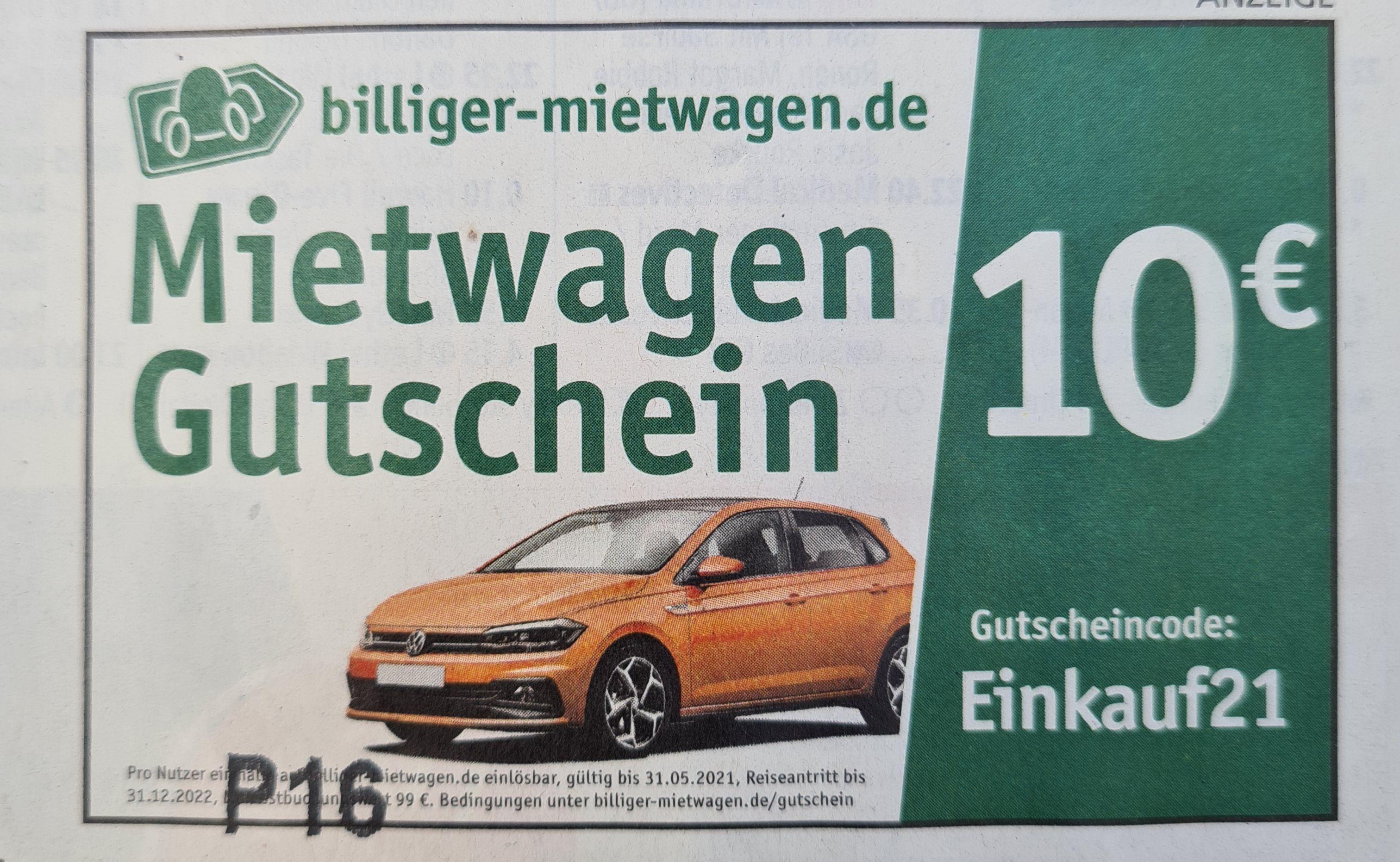 10 € Mietwagen Gutschein - billiger-mietwagen.de