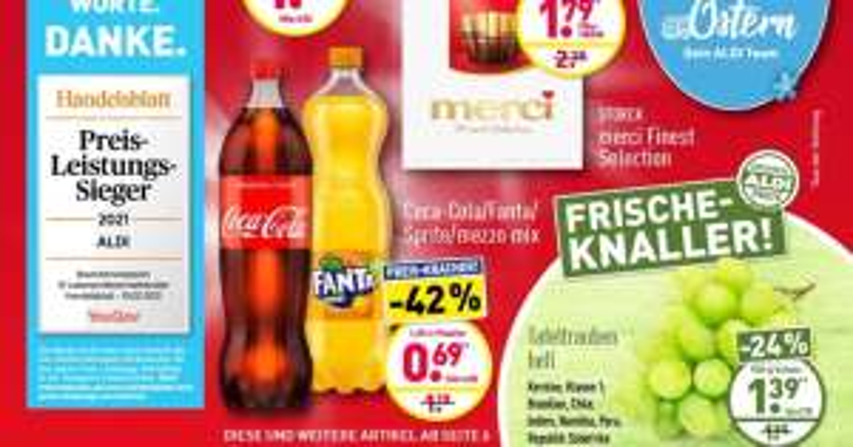 [Aldi ab 29.03.] Coca Cola, Sprite & Co - 1,25L für 0,69€ (0,55€/Liter)