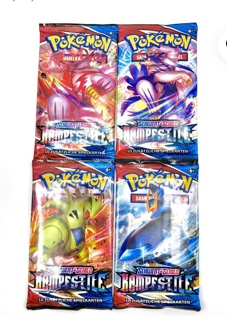 Pokémon Schwert & Schild SWSH05 Kampfstile Booster (DE) 4,49 pro Pack zzgl. einmalig 4,99 Versandkosten - egal wieviel Packs gekauft werden.