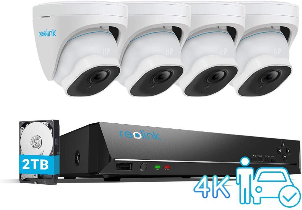 Reolink 4K 8CH Überwachungskamera Set, Smarte Person-und Fahrzeugerkennung 4X 8MP RLC-820A PoE IP Kamera und 2TB HDD NVR; 5.Cam für 44€ mehr