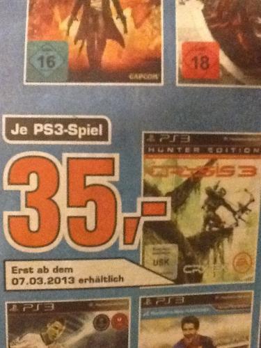 Crysis 3 - Hunter Edition PS3 (und weitere Games) [lokal @ Saturn Aachen] für 35,00€