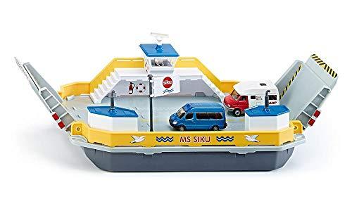 Siku 1750, Autofähre, 1:50, Metall/Kunststoff, Inkl. 2 Spielzeug-Autos, Gelb/Grau, Schwimmfähig