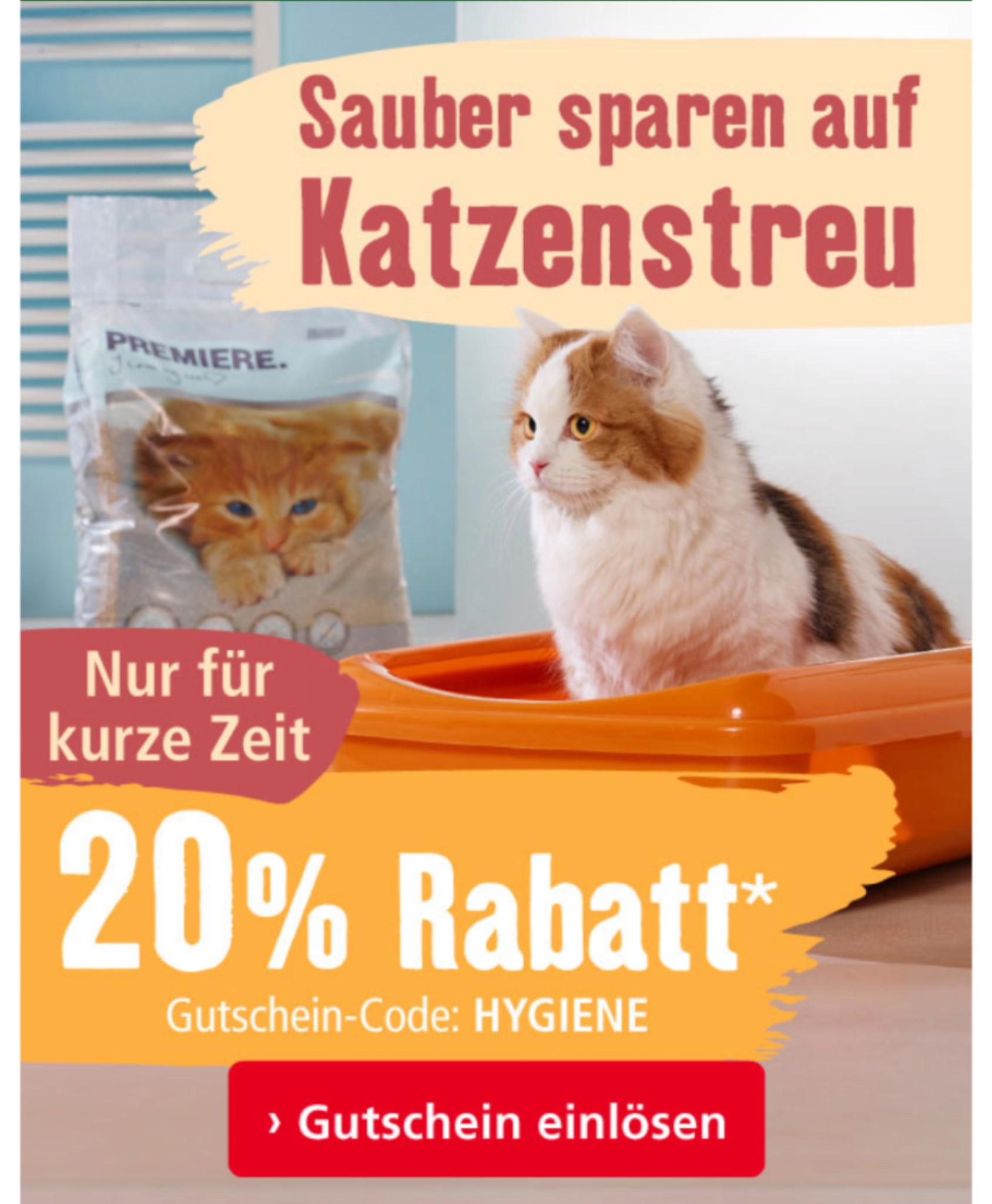20% Rabatt auf Katzenstreu bei Fressnapf