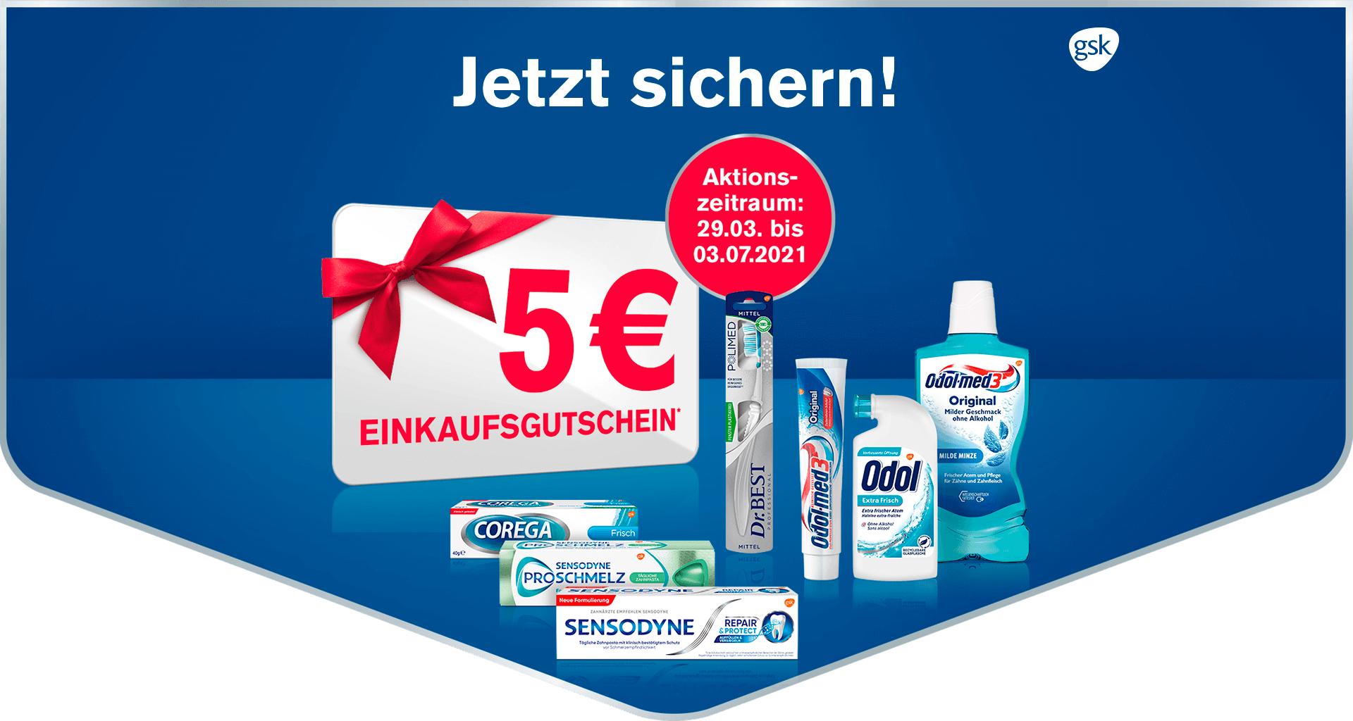 5€ Einkaufsgutschein beim Kauf von Sensodyne, Dr.Best, Odol, Corega Produkten im Wert von 10€