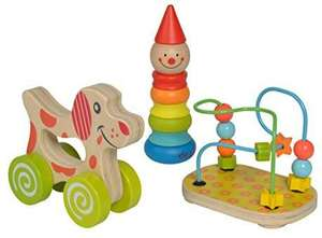 Eichhorn Lernspielset bestehend aus Steckfigur Clown, Motorikschleife und Schiebehund und ein weiteres Holzspielzeug [Amazon Prime]