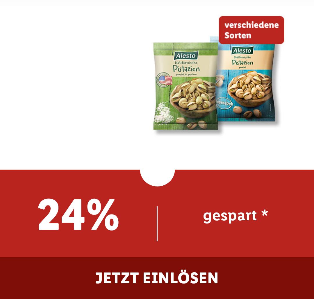 [ Lidl plus App] Pistazien Tüte 250g gesalzen oder ungesalzen nur 2,49€
