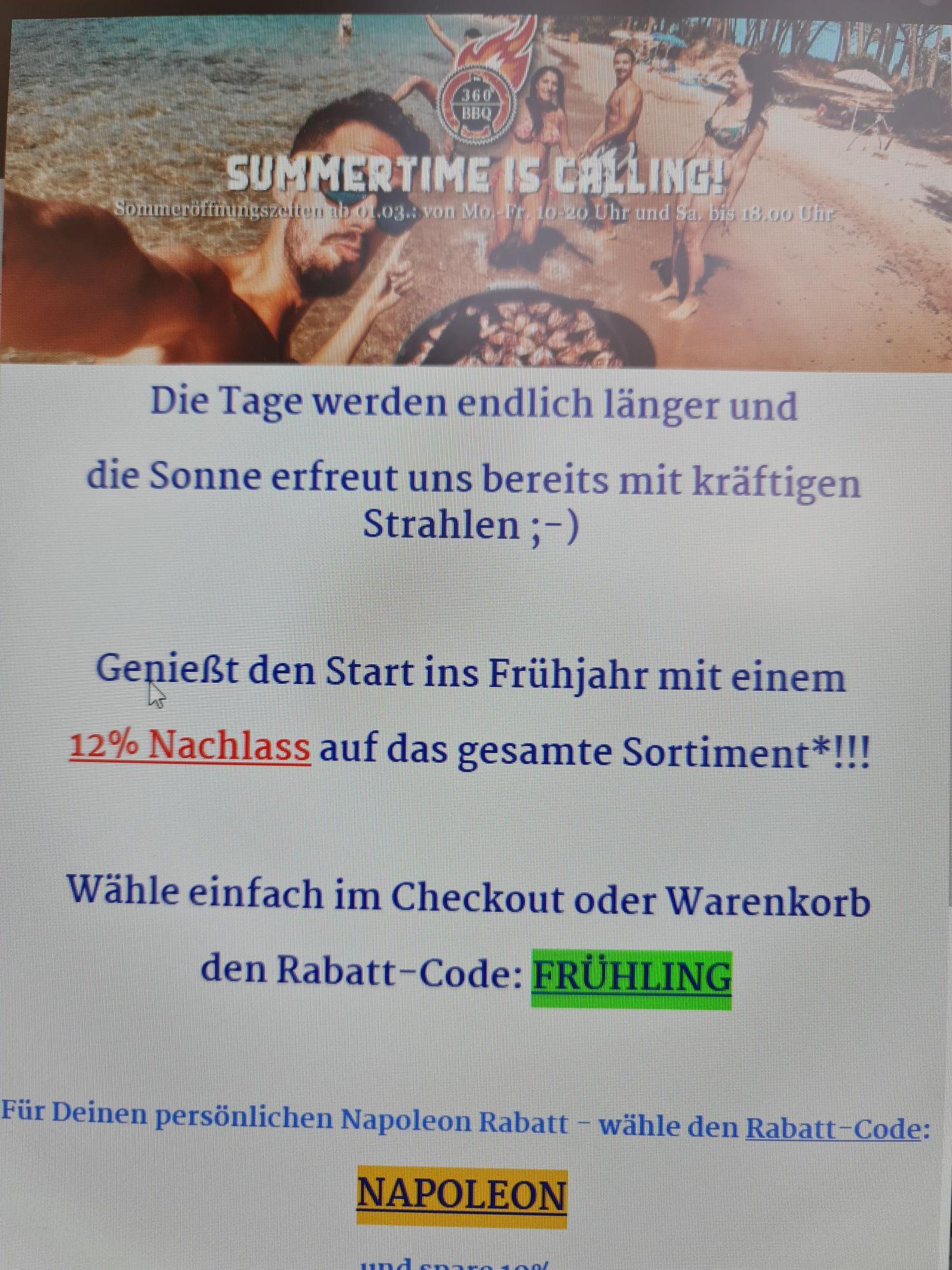 360°BBQ Grillshop 12% auf fast gesamtes Sortiment (10% auf Napoleon)