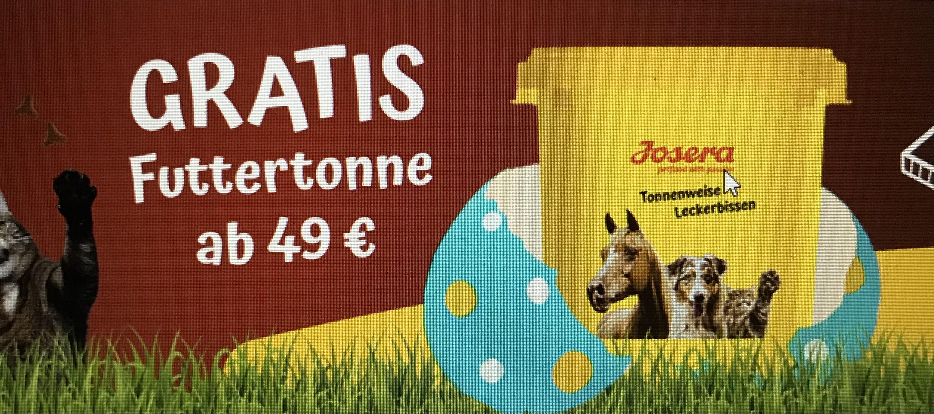 Josera 35L Futtertonne kostenlos ab 49€ MBW (für Hund, Katze & Pferd Futter)