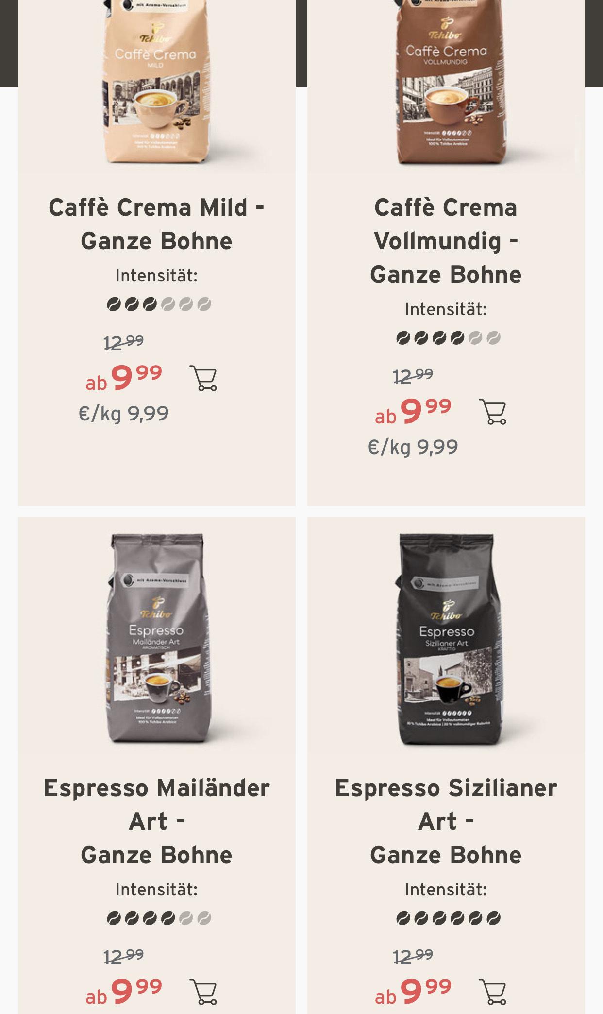 Tchibo Kaffeebohnen durch Tricks für min. 7,20€/kg