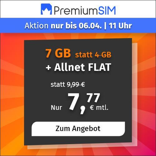 7GB LTE PremiumSIM Tarif mit Allnet- & SMS-Flat, 7GB Datenvolumen LTE 50 Mbit/s für 7,77€ im Monat | VoLTE & WLAN Call (3 Monate/ 24 Monate)