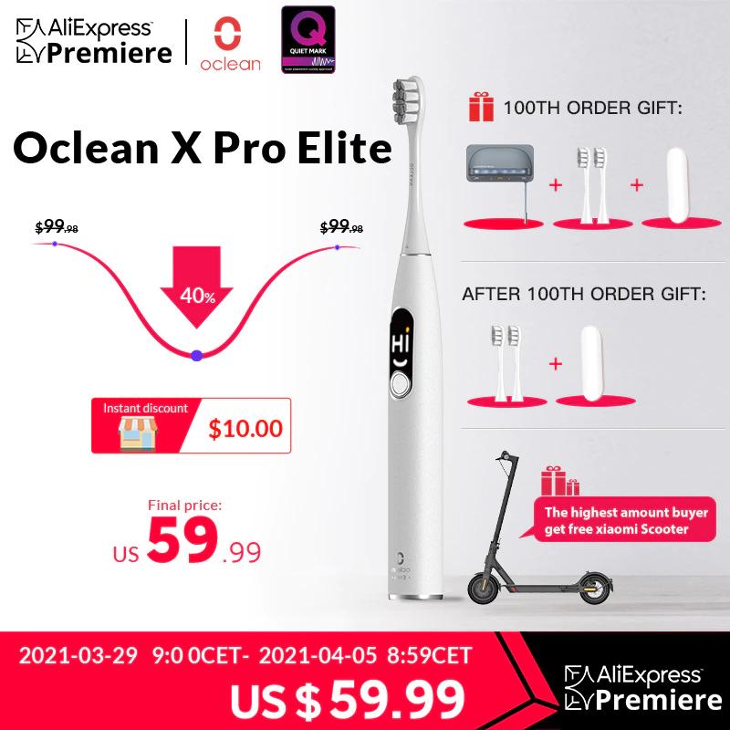 Oclean X Pro Elite Schallzahnbürste mit Travel Case und 2 Ersatzbürsten