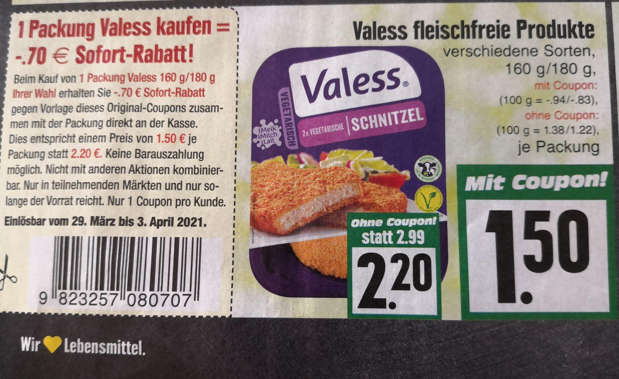 [EDEKA Hessenring] Valess vegetarische Gerichte/Schnitzel Coupon + Marktguru effektiv 1,10€!