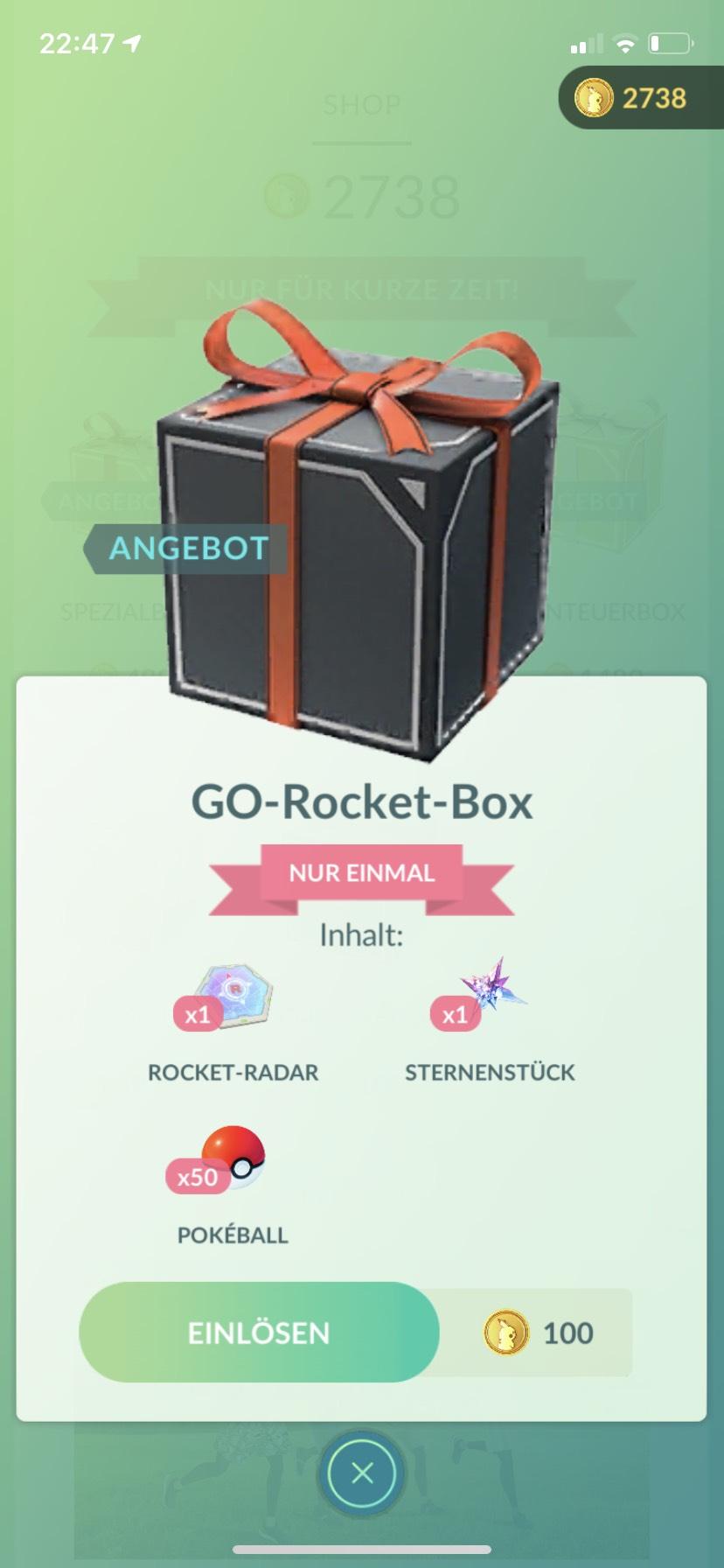 Pokémon Go rocket Box für 100münzen