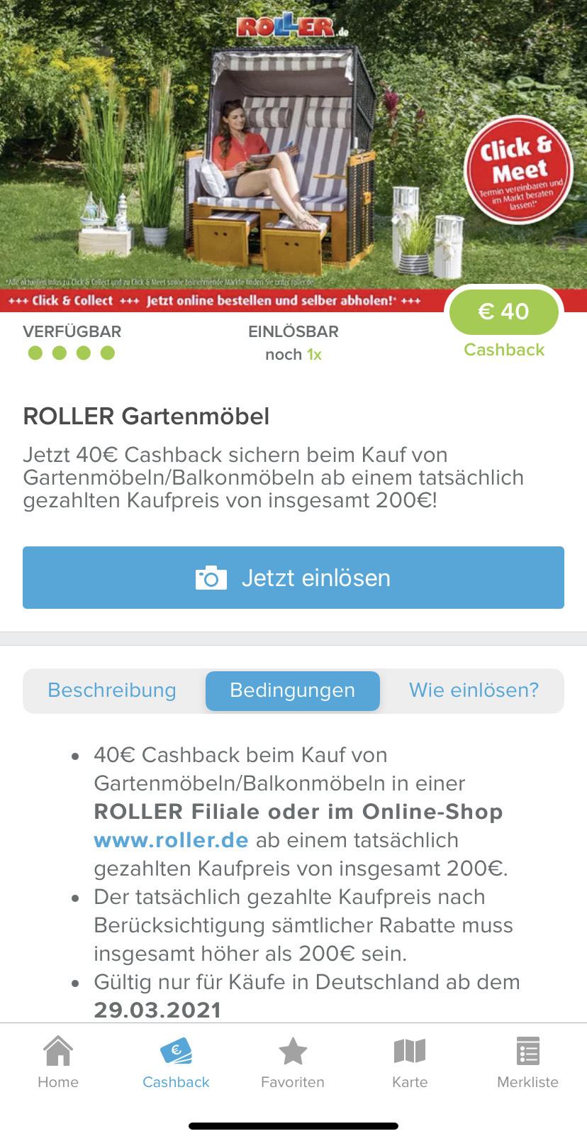 40€ Cashback bei Roller über Marktguru auf Gartenmöbel/Balkonmöbel ab 200€